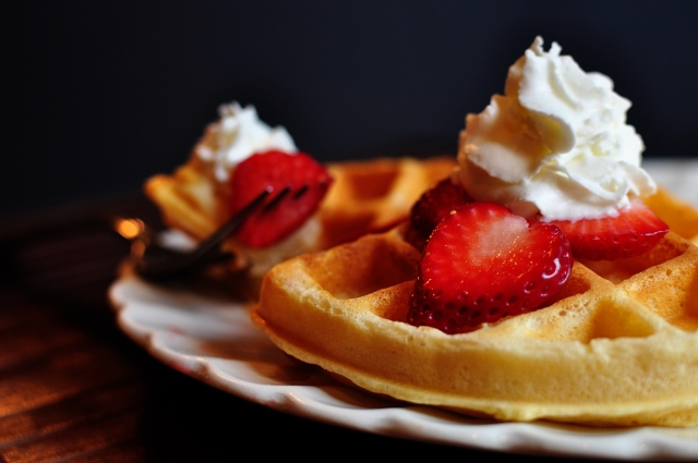 Classic Waffles with Fresh Strawberries