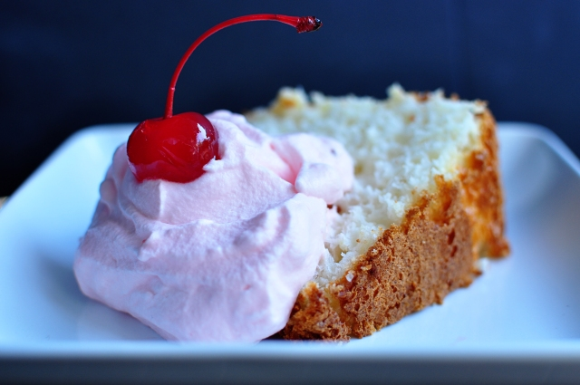 Pineapple Angel Food Cake with Cherry Whipped Cream